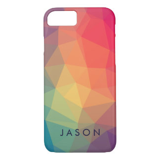 Elegant modern polygonal colored  add your name iPhone 7 case