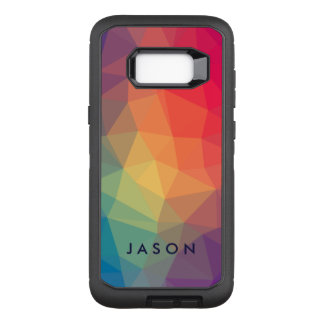 Elegant modern polygonal colored add your name OtterBox defender samsung galaxy s8+ case