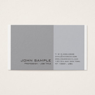 Elegant Modern Professional Grey White Plain Business Card