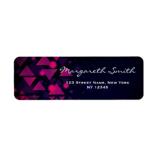 Elegant Modern Purple and Black Pattern Return Address Label