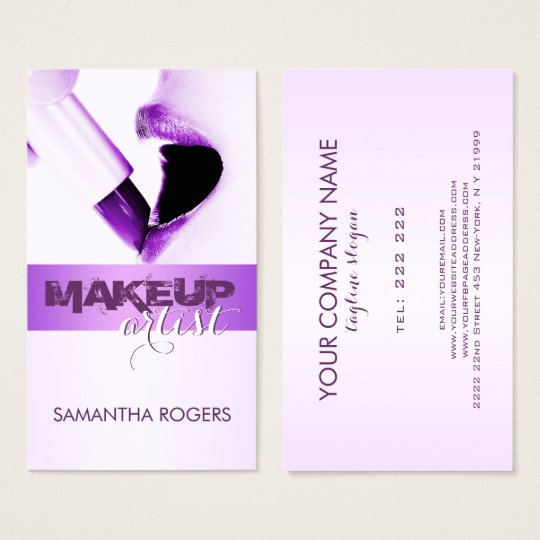 Elegant Modern Purple Makeup Artist Business Card