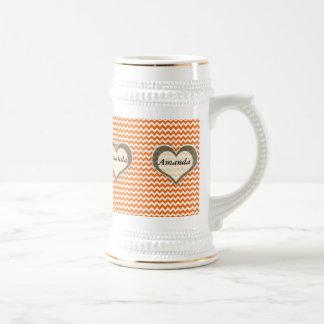 elegant modern romantic heart chevron orange beer steins