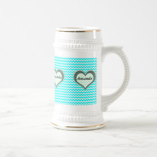 elegant modern romantic heart chevron turquoise beer steins