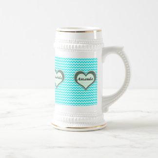 elegant modern romantic heart chevron turquoise 18 oz beer stein
