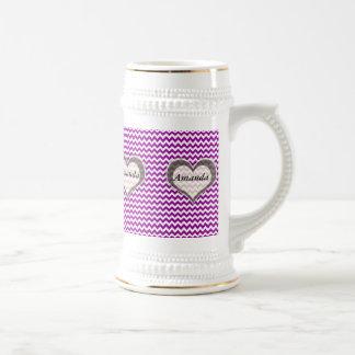 elegant modern romantic heart chevron violet coffee mug