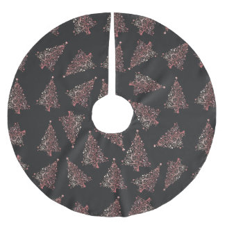 Elegant modern rose gold Christmas tree pattern Brushed Polyester Tree Skirt