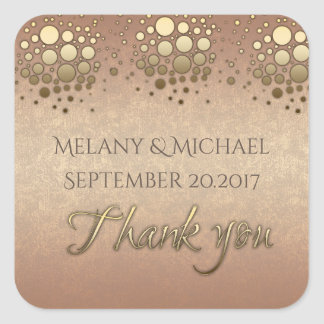 Elegant modern rose gold confetti thank you square sticker