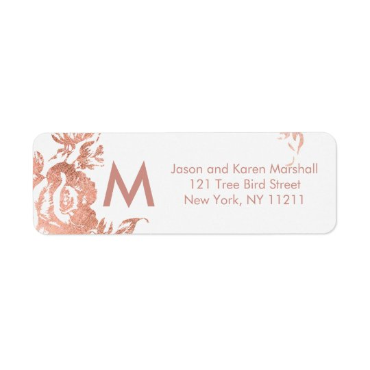 Elegant Modern Rose Gold Floral Address Labels