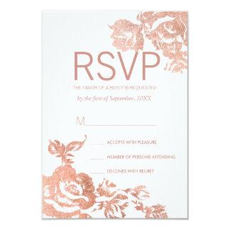 Elegant Modern Rose Gold Floral RSVP Cards