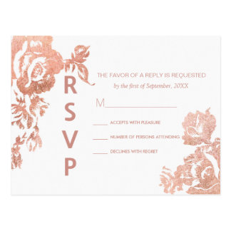 Elegant Modern Rose Gold Floral RSVP Postcards
