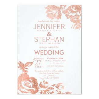 Elegant Modern Rose Gold Floral Wedding Invitation