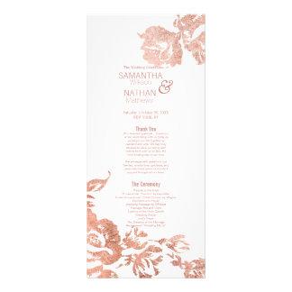 Elegant Modern Rose Gold Floral Wedding Programs Rack Card