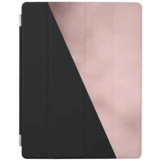 elegant modern rose gold foil black geometric iPad cover