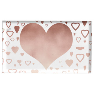 elegant modern rose gold foil hearts pattern table card holder