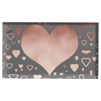 elegant modern rose gold foil hearts pattern table card holders