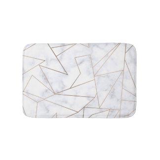 elegant modern rose gold geometric white marble bath mat