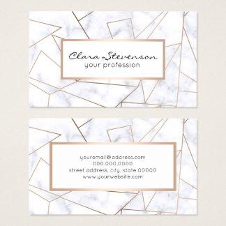 elegant modern rose gold geometric white marble business card
