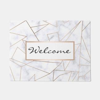 elegant modern rose gold geometric white marble doormat
