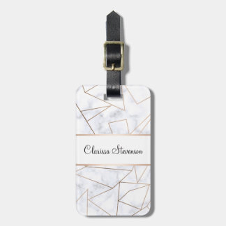 elegant modern rose gold geometric white marble luggage tag