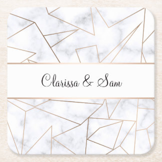 elegant modern rose gold geometric white marble square paper coaster