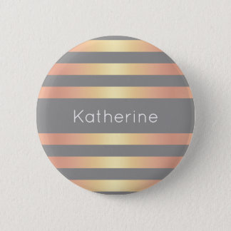 Elegant Modern Rose Gold Gradient Stripes Grey 6 Cm Round Badge