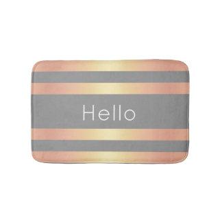 Elegant Modern Rose Gold Gradient Stripes Grey Bath Mat
