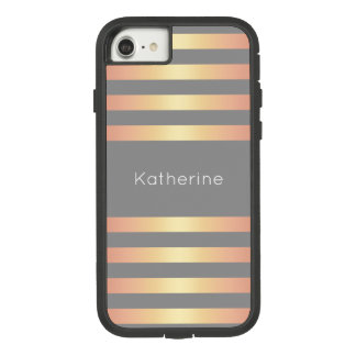 Elegant Modern Rose Gold Gradient Stripes Grey Case-Mate Tough Extreme iPhone 8/7 Case