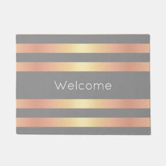 Elegant Modern Rose Gold Gradient Stripes Grey Doormat