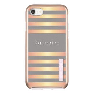 Elegant Modern Rose Gold Gradient Stripes Grey Incipio DualPro Shine iPhone 8/7 Case