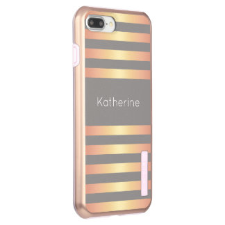 Elegant Modern Rose Gold Gradient Stripes Grey Incipio DualPro Shine iPhone 8 Plus/7 Plus Case