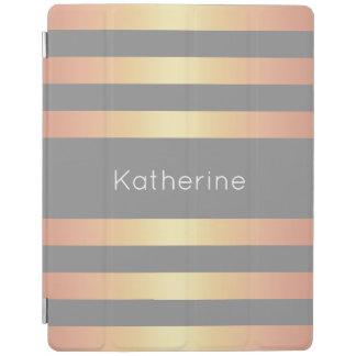 Elegant Modern Rose Gold Gradient Stripes Grey iPad Cover