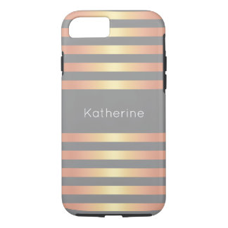 Elegant Modern Rose Gold Gradient Stripes Grey iPhone 8/7 Case