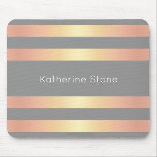 Elegant Modern Rose Gold Gradient Stripes Grey Mouse Pad
