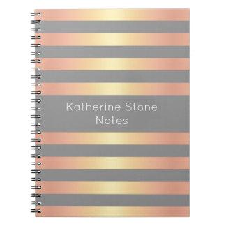 Elegant Modern Rose Gold Gradient Stripes Grey Notebook