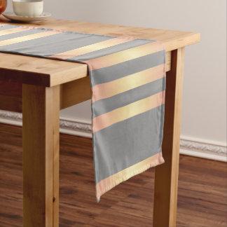 Elegant Modern Rose Gold Gradient Stripes Grey Short Table Runner
