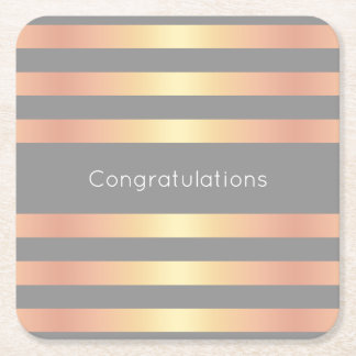 Elegant Modern Rose Gold Gradient Stripes Grey Square Paper Coaster
