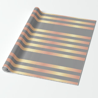 Elegant Modern Rose Gold Gradient Stripes Grey Wrapping Paper