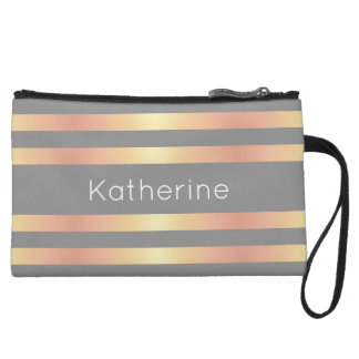 Elegant Modern Rose Gold Gradient Stripes Grey Wristlet