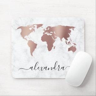 Elegant modern rose gold white marble world map mouse pad