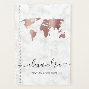 Elegant modern rose gold white marble world map planner