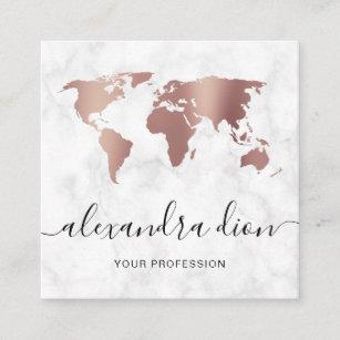 Elegant modern rose gold white marble world map square business card