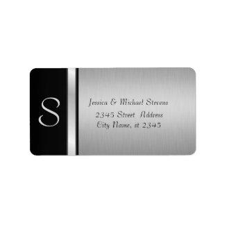 Elegant modern silver/ black monogram wedding address label