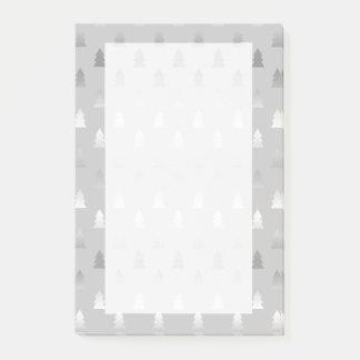 elegant modern silver Christmas tree pattern Post-it Notes