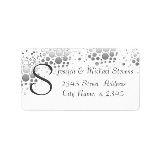 Elegant modern silver confetti monogram wedding label
