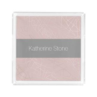 Elegant modern silver geometric triangles pink acrylic tray