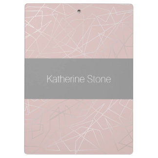 Elegant modern silver geometric triangles pink clipboard