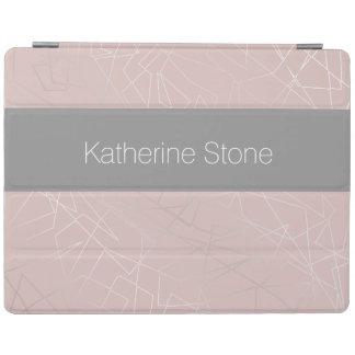 Elegant modern silver geometric triangles pink iPad cover