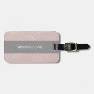 Elegant modern silver geometric triangles pink luggage tag