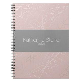 Elegant modern silver geometric triangles pink notebook