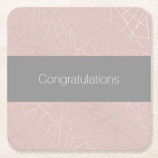 Elegant modern silver geometric triangles pink square paper coaster